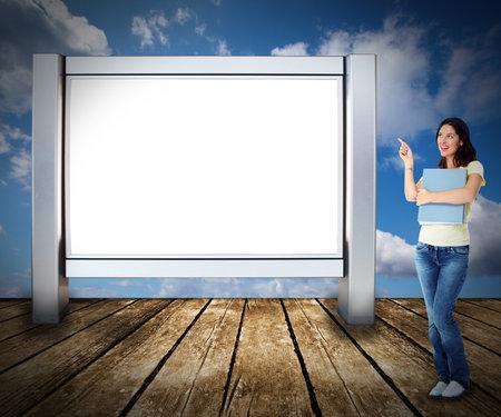 Student woman near billboard Stock Photo - 17245172