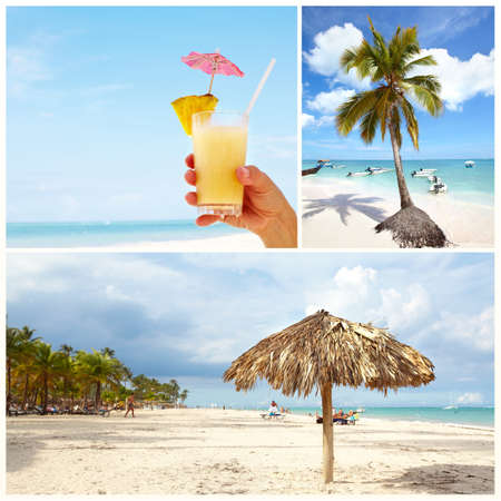 Exotic caribbean beach collage  Stock Photo - 17249876