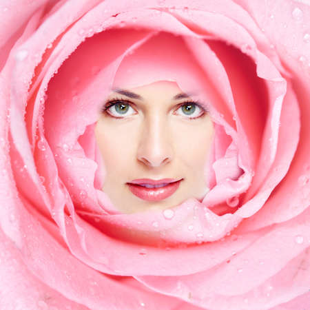 Beautiful woman face flower  photo