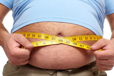 obesidad: Hombre gordo con una gran barriga