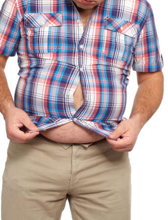 belly fat: Fat man with a big belly  Stock Photo