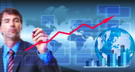 Businessman writing on blue screen Stock Photo - 17658029
