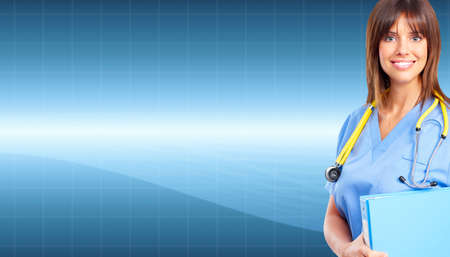 hospital background: Doctor woman