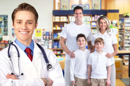 Pharmacist with a family Stock Photo - 17658039