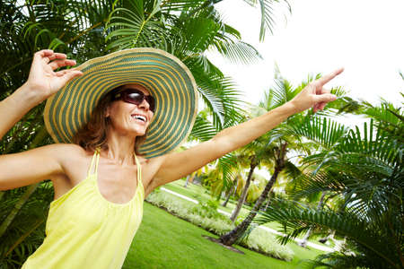 palm garden: Woman in the tropical garden