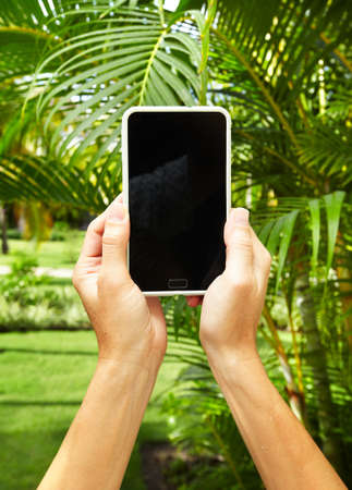 Woman with a smartphone in tropical garden Stock Photo - 17878150