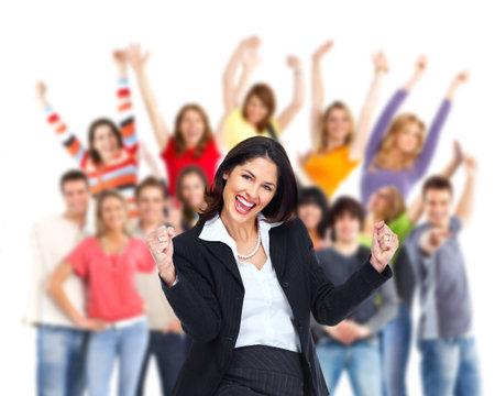 Groep gelukkige mensen met zakenvrouw juichen in de voorgrond Stockfoto