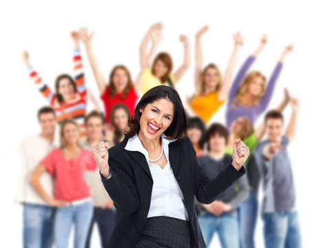 happyness: Group of happy people with businesswoman cheering in foreground