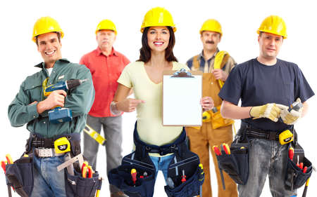 builders: Contractor woman and group of industrial workers