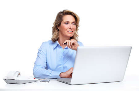 Business woman with a laptop computer Stock Photo - 17874805