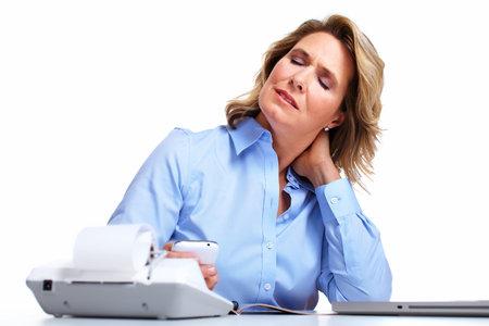 woman neck: Business woman having a headache