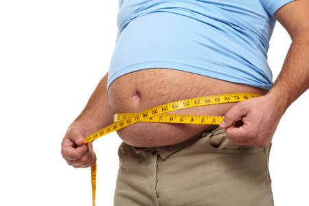 fat belly: Fat man with a big belly  Stock Photo