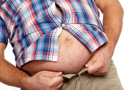 big belly: Fat man with a big belly  Stock Photo