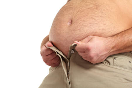 tight body: Fat man with a big belly  Stock Photo