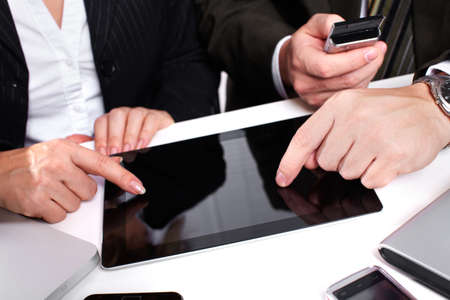 Business people group working with laptop Stock Photo - 17878140