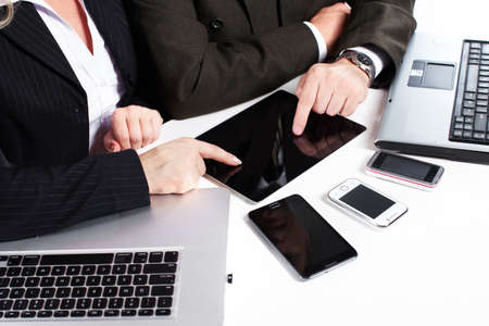 Business people group working with laptop Stock Photo - 17878441
