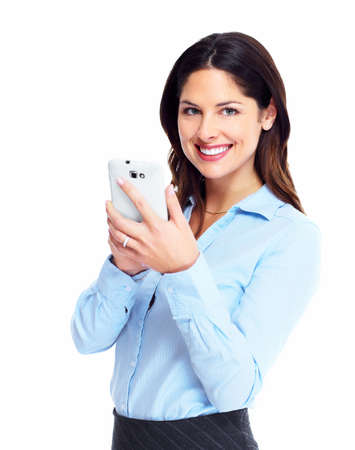 phone: Happy business woman with cell phone