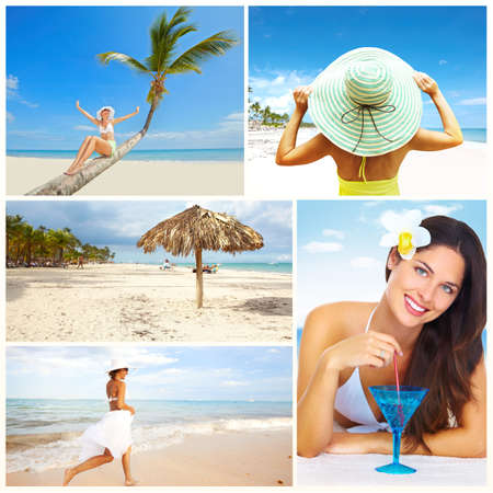 mexican girl: Exotic luxury resort collage