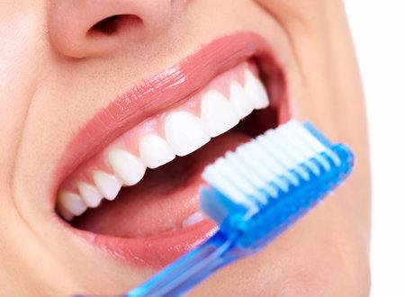 brush teeth: Beautiful woman smile