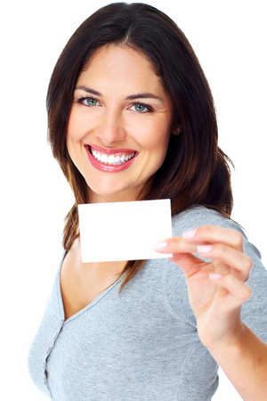 holding business card: Woman with a card