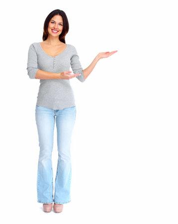 Happy woman showing a copyspace