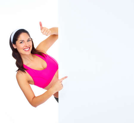 losing: Young beautiful fitness woman with banner