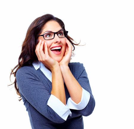 �tonnement: Heureux succ�s de femme d'affaires Banque d'images