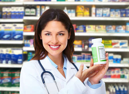vitamins pills: Pharmacist woman