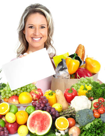 sante: Happy woman with fruits