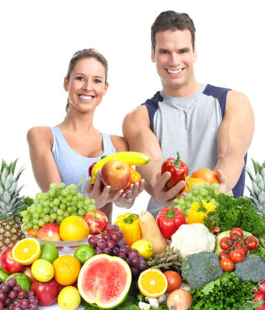 weight loss man: Happy couple with fruits