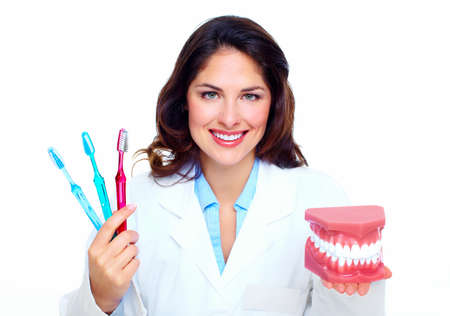 smile close up: Dentist woman  Stock Photo
