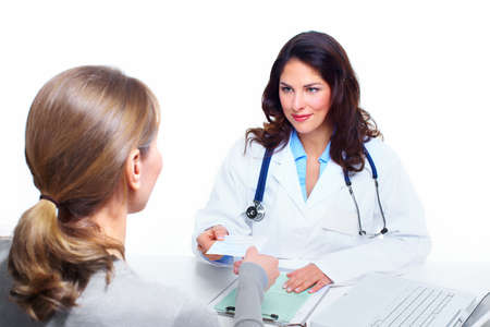 grippe: Doctor woman and patient  Stock Photo