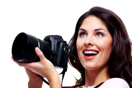 taking photograph: Woman with a photo camera