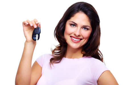auto garage: Woman with a car keys  Stock Photo