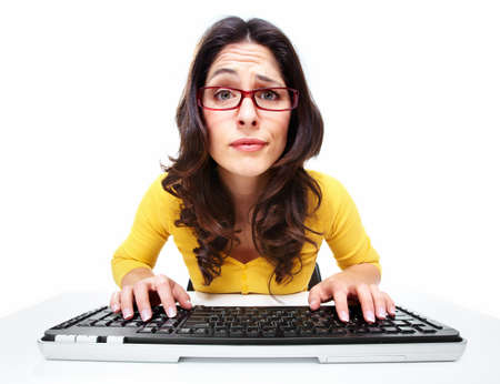 Business woman with laptop, computer  Stock Photo - 18358003