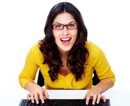 Business woman with laptop, computer  Stock Photo - 18358017