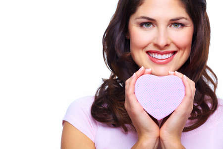 Beautiful woman with a heart box  Stock Photo - 18358043