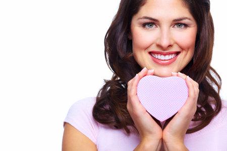 Beautiful woman with a heart box Stock Photo - 18358043