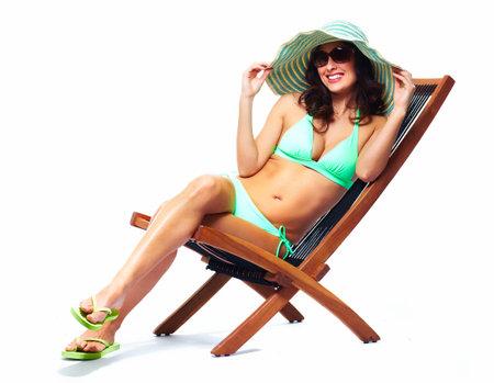 cuba girl: Woman relaxing on the beach
