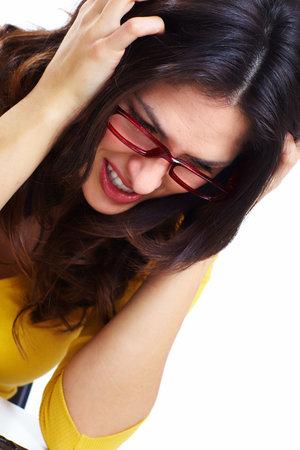 Woman having a stress Stock Photo - 18388137