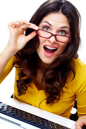 Business woman with laptop computer Stock Photo - 18388166