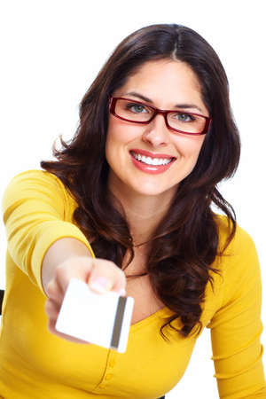 Beautiful woman with a credit card Stock Photo - 18388168