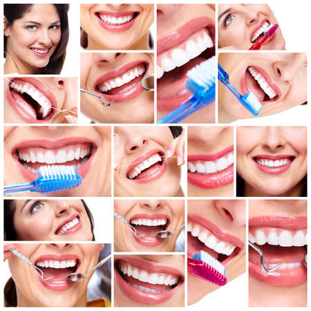 oral care: Beautiful woman smile collage