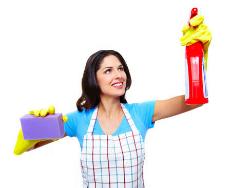 charlady: Young smiling cleaner woman