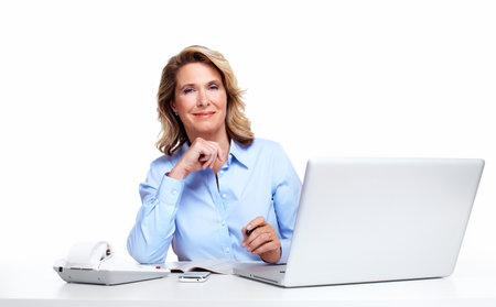 contabilidad financiera cuentas: Mujer de negocios con un ordenador portátil