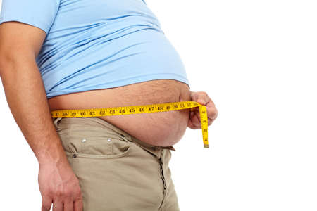 fat and slim: Fat man with a big belly  Stock Photo