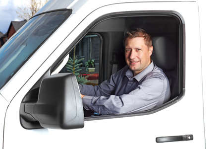 truck driver: Handsome truck driver