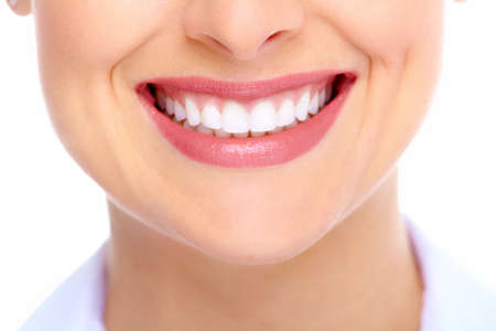 mouth close up: Beautiful woman smile