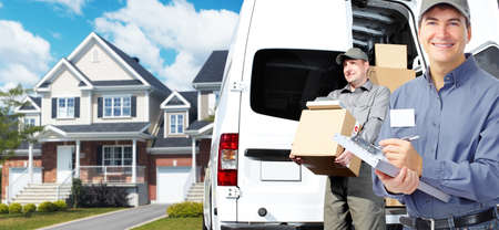 delivery service: Delivery postman  Stock Photo