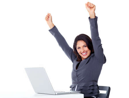 secretary office: Happy business woman with laptop computer